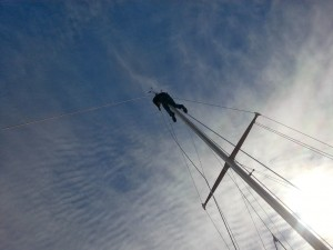 Mike atop the mast
